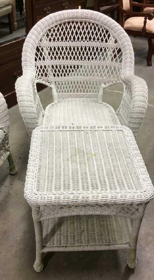 Vintage White Wicker Parlor Set - 5