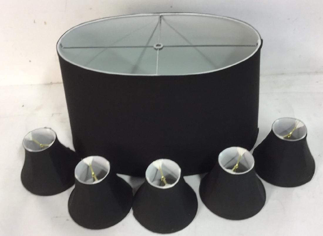 Group Lot of Black Lamp Shades - 2
