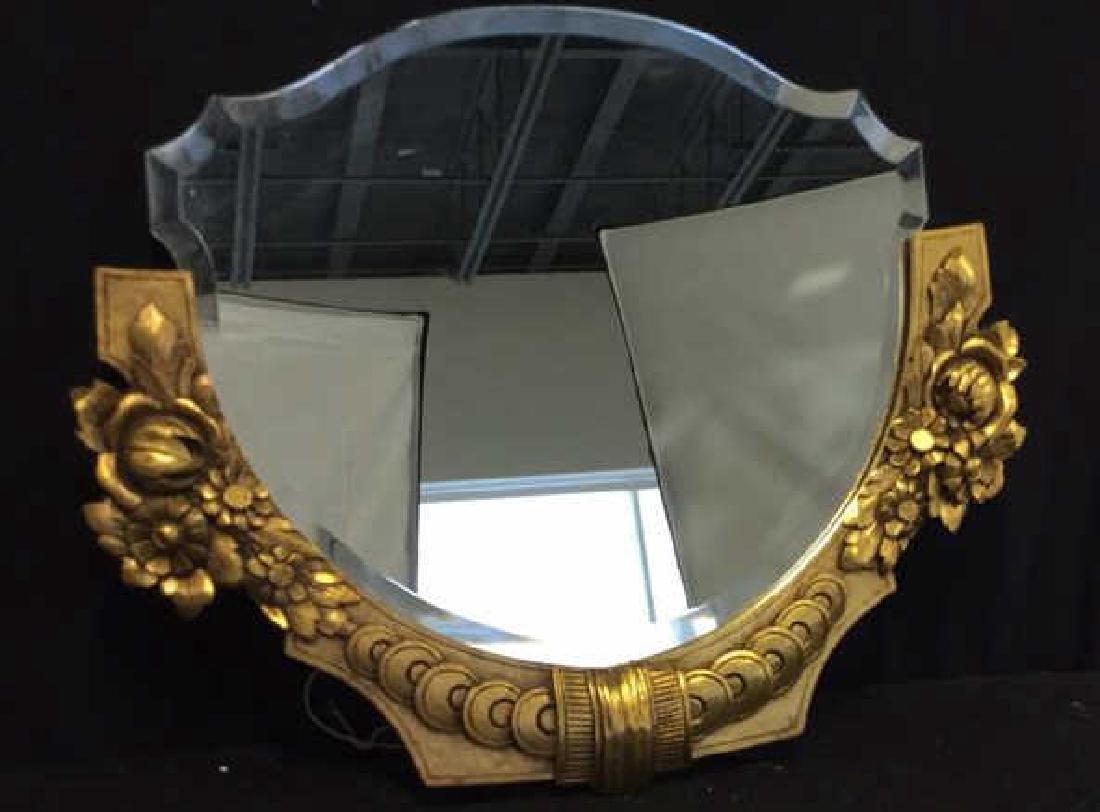 Art Deco styled Carved Gold Leaf Mirror 22 carat gold - 2