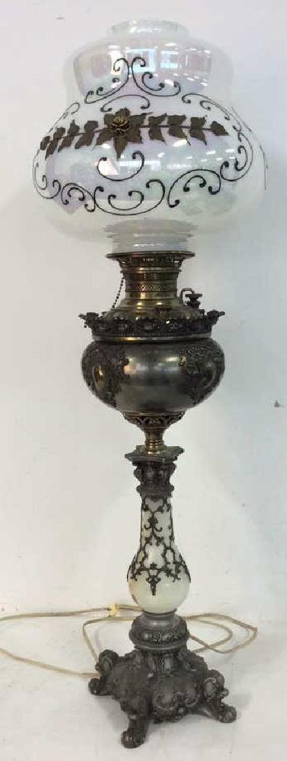 Ornate Victorian Bronze Banquet Lamp From New York City