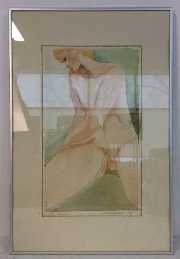 Ronnie Lambrou Signed Water Color Nude Signed male