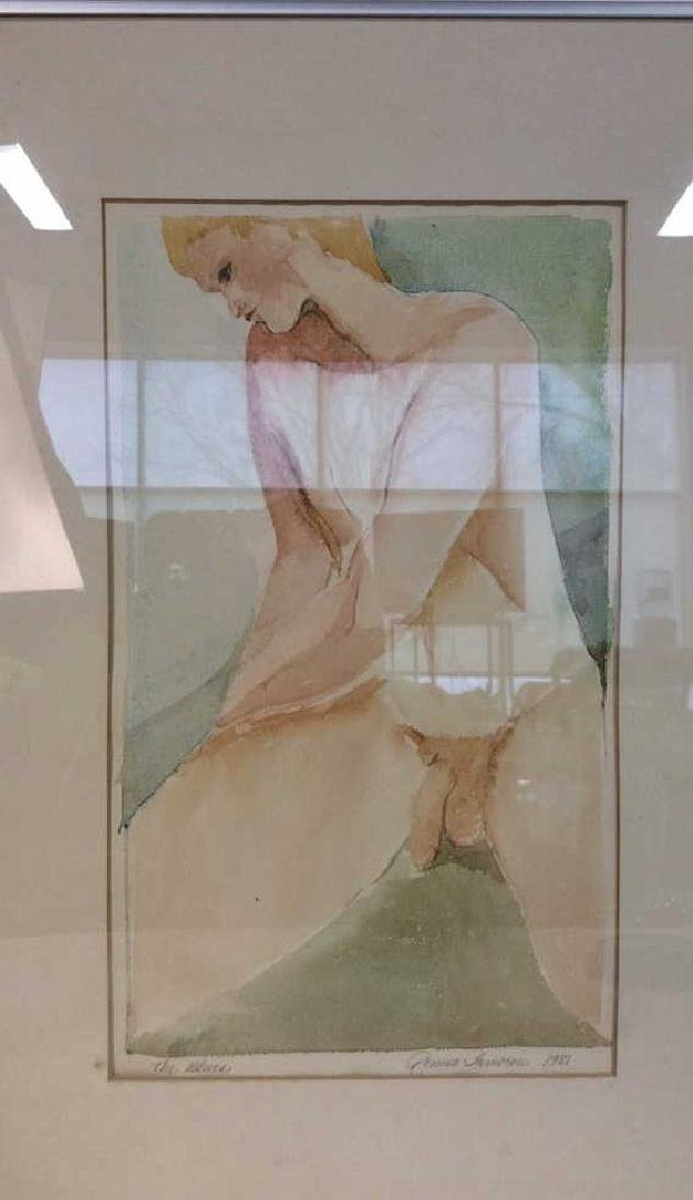 Ronnie Lambrou Signed Water Color Nude Signed male - 2