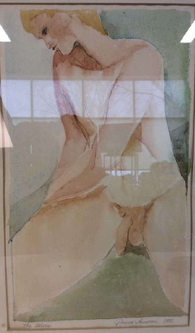 Ronnie Lambrou Signed Water Color Nude Signed male - 3