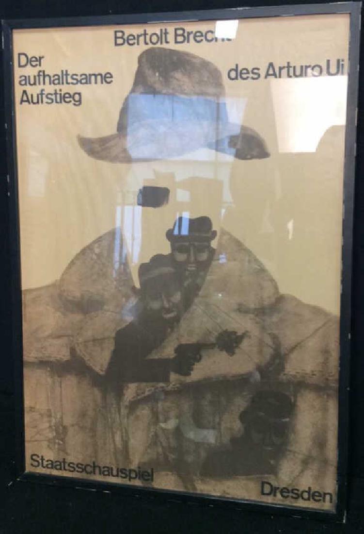 Vintage Bertolt Brecht Dresden Exhibit Poster Framed