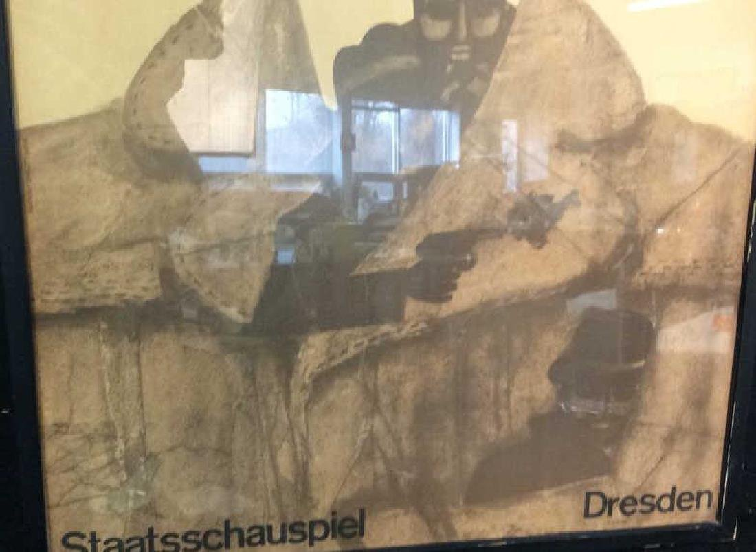 Vintage Bertolt Brecht Dresden Exhibit Poster Framed - 7