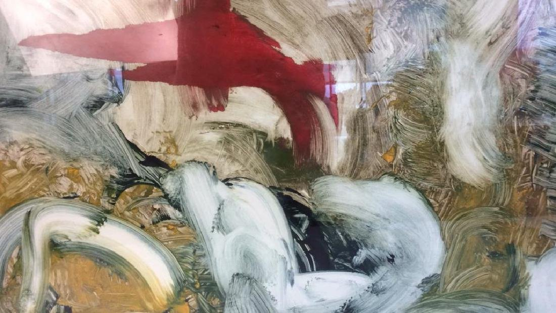 Pete Biester Monoprint Abstract Artwork Labeled for