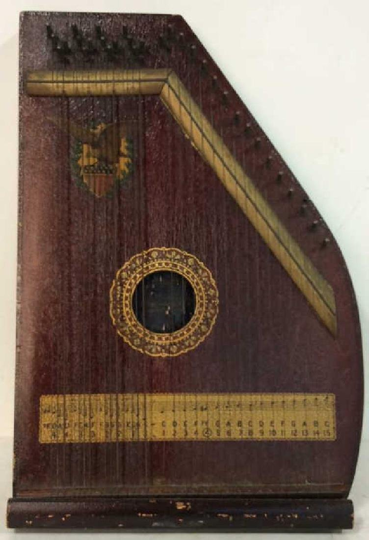 A. R Yendrick & Co Carved and Painted Mandolin Harp - 2