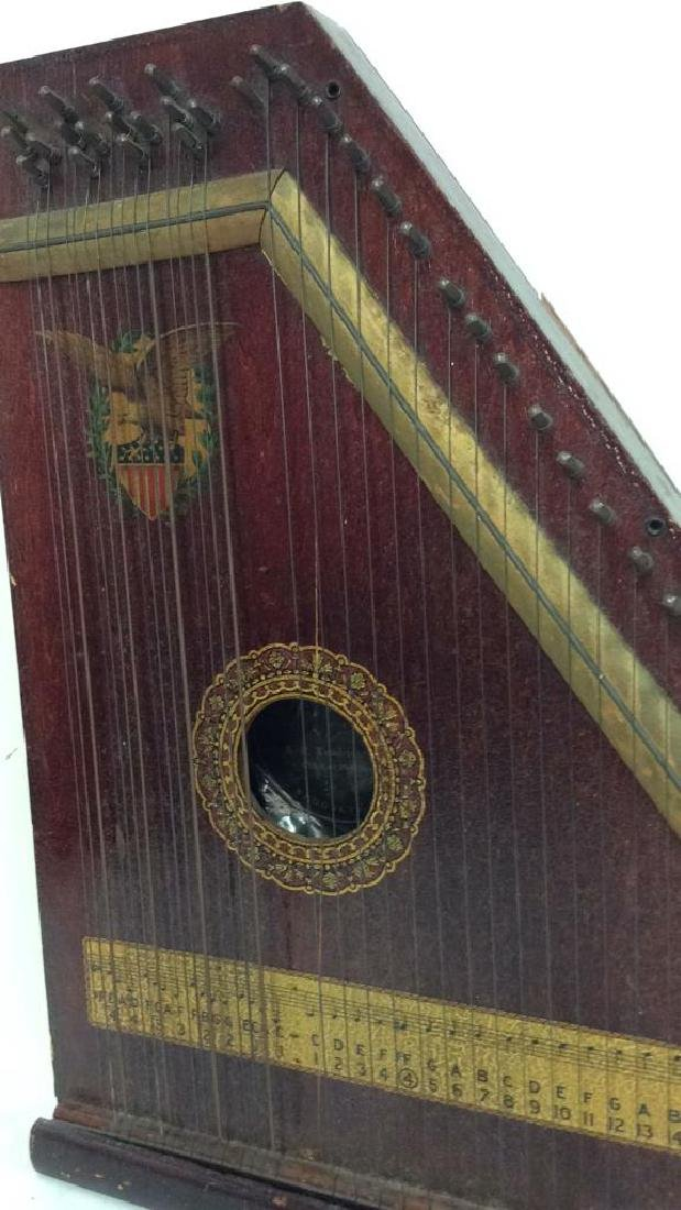 A. R Yendrick & Co Carved and Painted Mandolin Harp - 4