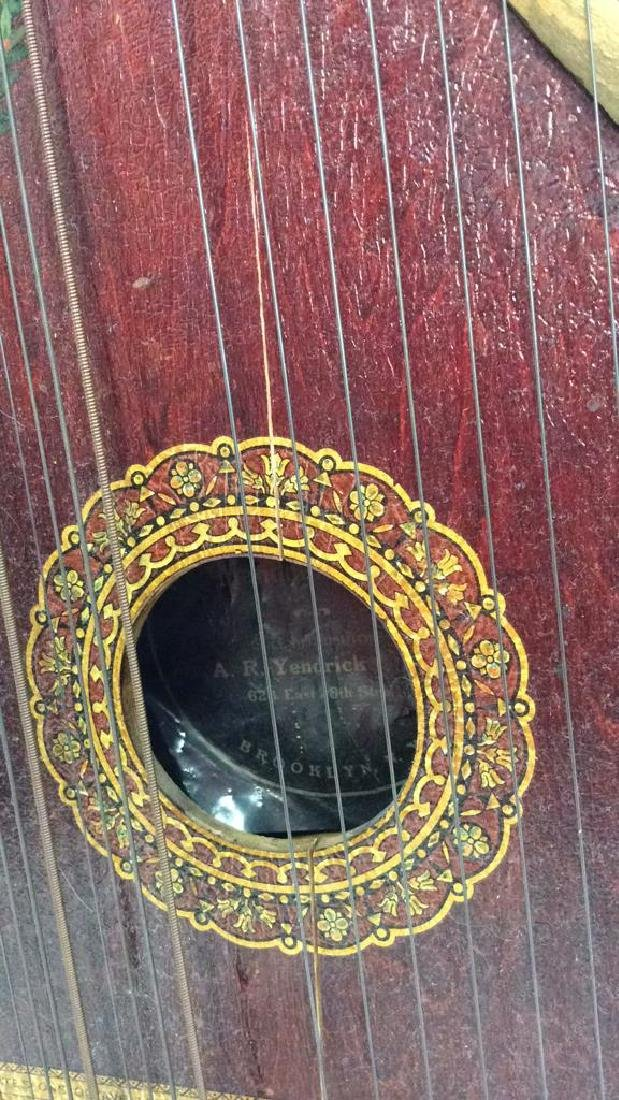 A. R Yendrick & Co Carved and Painted Mandolin Harp - 5