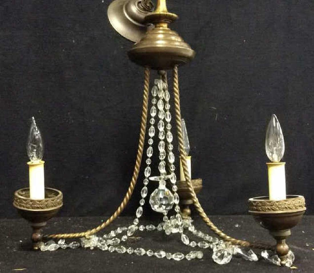 Antique English 3 light brass Crystal Chandelier Circa