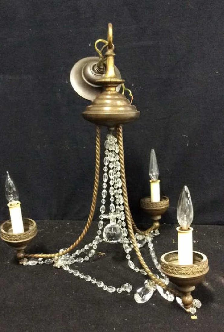 Antique English 3 light brass Crystal Chandelier Circa - 2