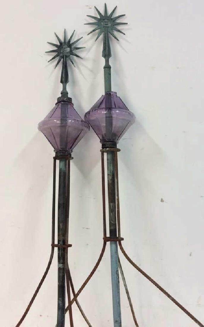"Pair Antique Copper Lightening Rods ""Electra"" Each - 2"