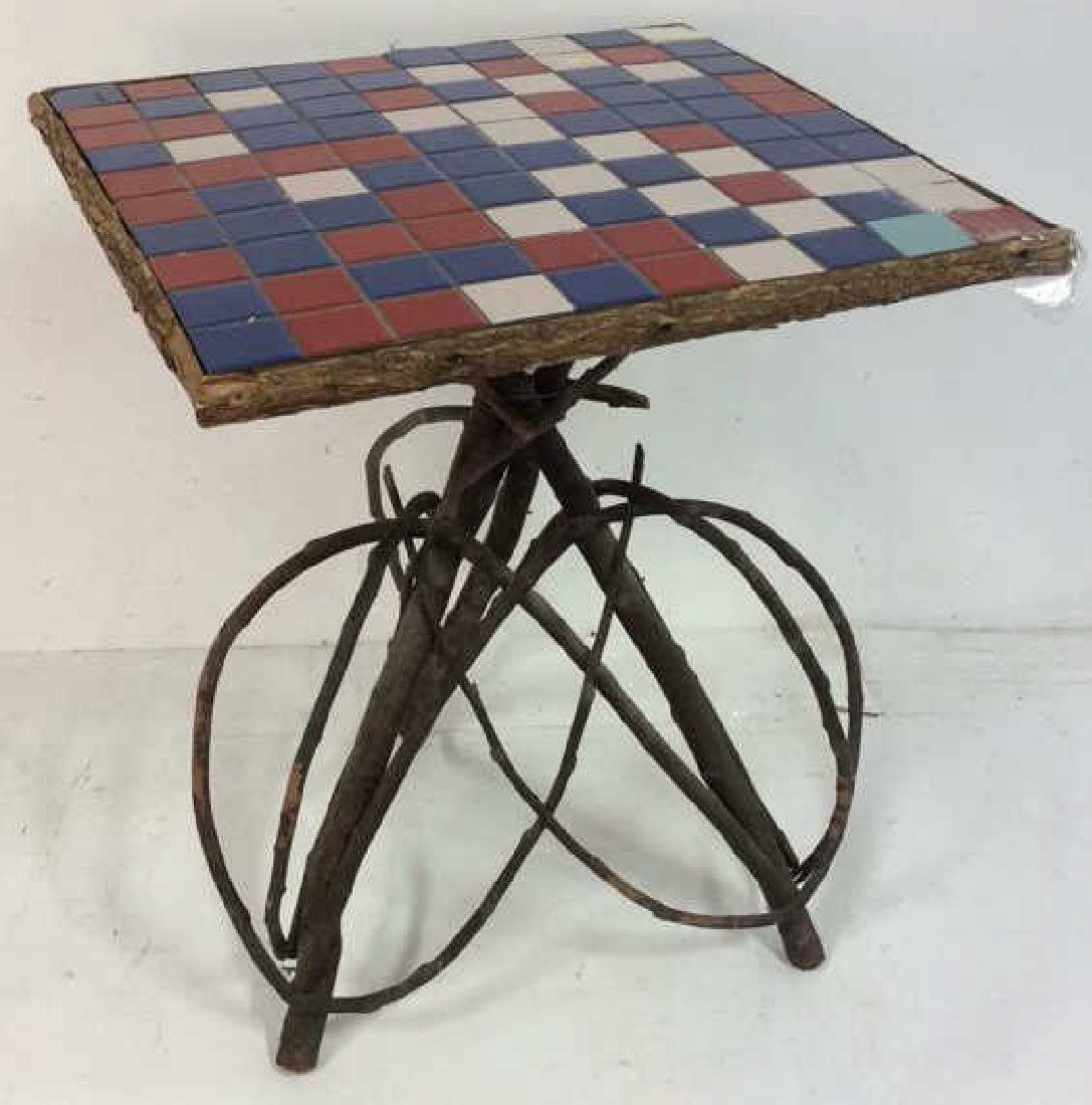 Adirondack Twig Table Tile Top Willow Furniture, Hand