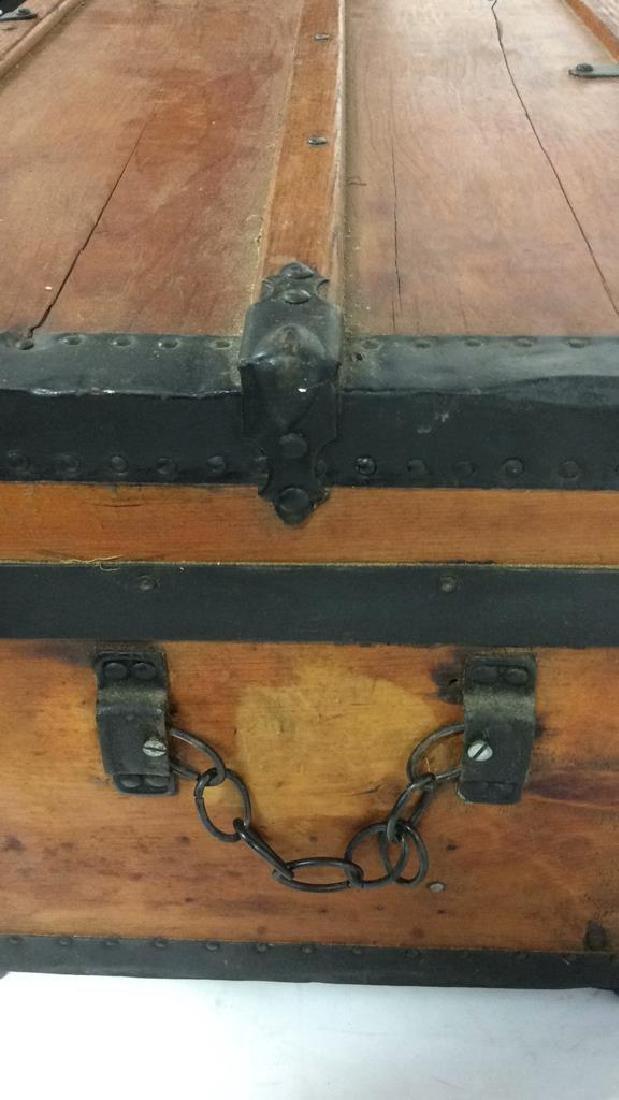 Antique Pine Leather Brass Metal Trunk Antique Trunk - 10