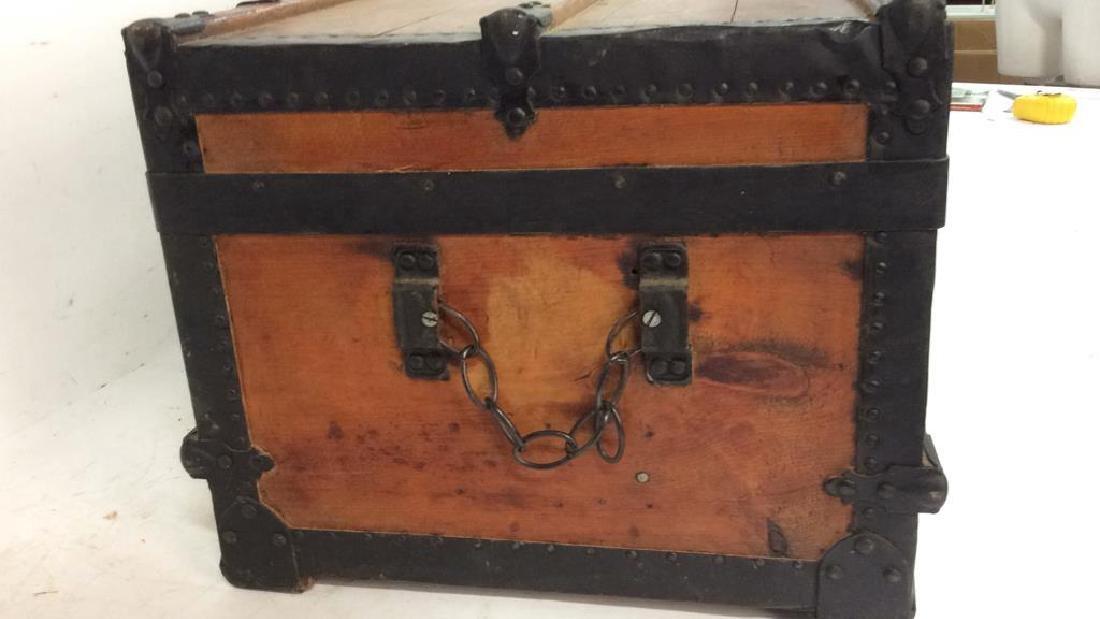 Antique Pine Leather Brass Metal Trunk Antique Trunk - 4