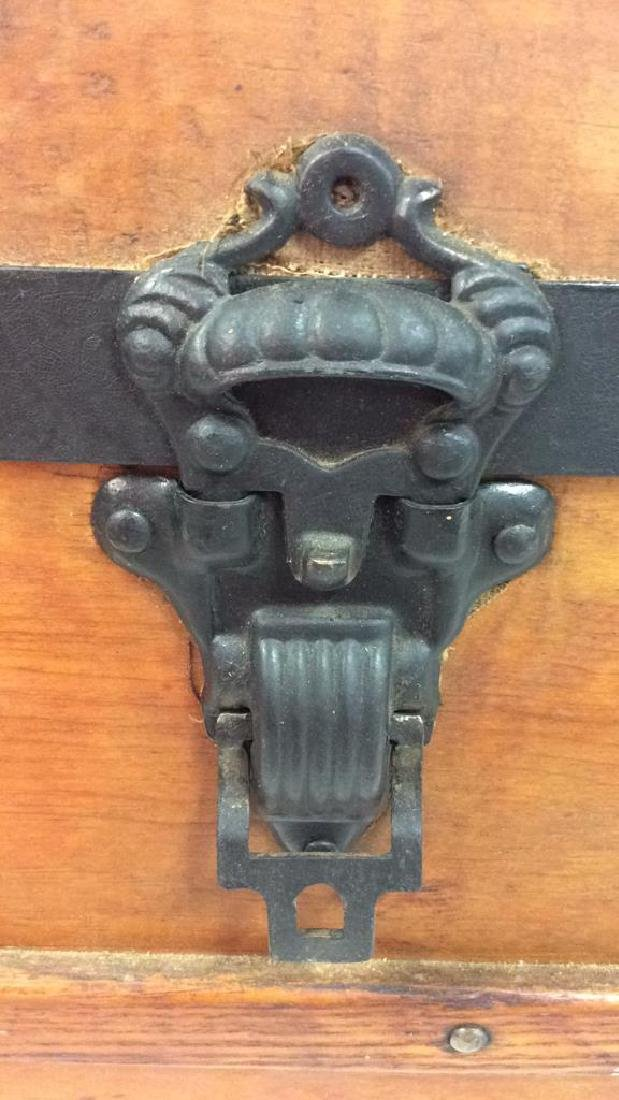 Antique Pine Leather Brass Metal Trunk Antique Trunk - 5