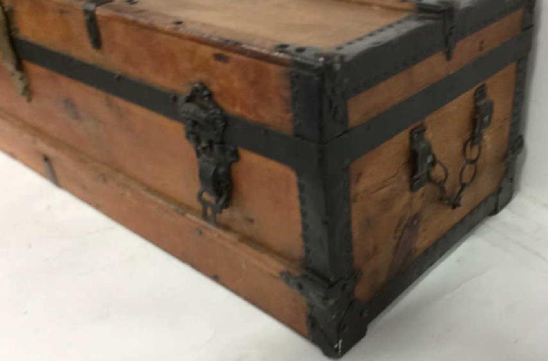 Antique Pine Leather Brass Metal Trunk Antique Trunk - 6