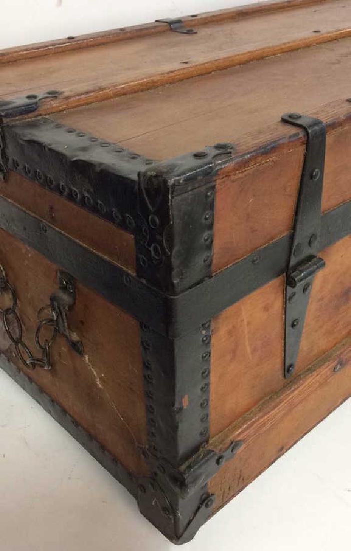 Antique Pine Leather Brass Metal Trunk Antique Trunk - 8