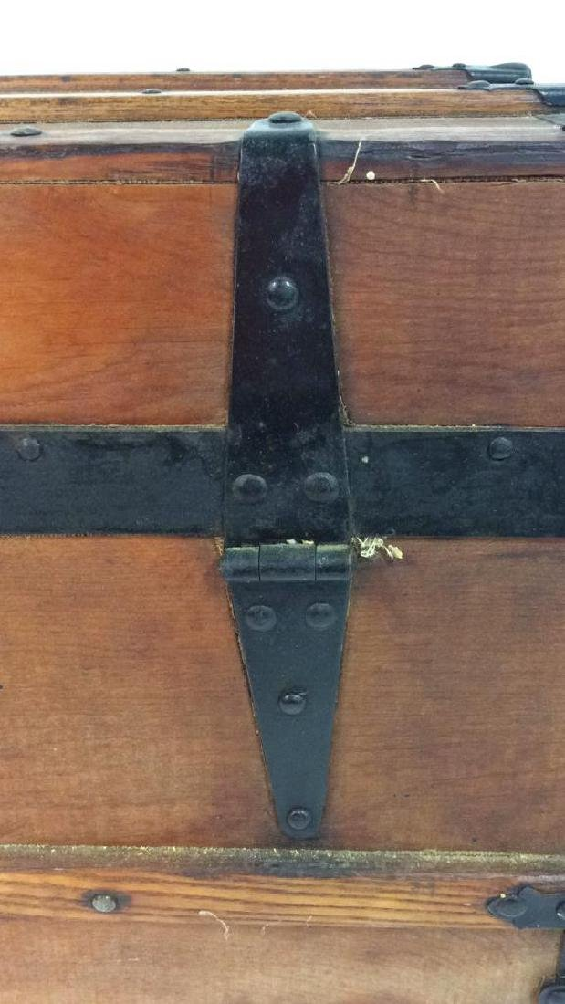 Antique Pine Leather Brass Metal Trunk Antique Trunk - 9
