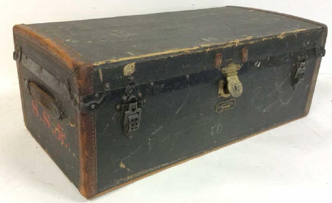 Antique Canvas Leather Auto Trunk from 1920's Auto