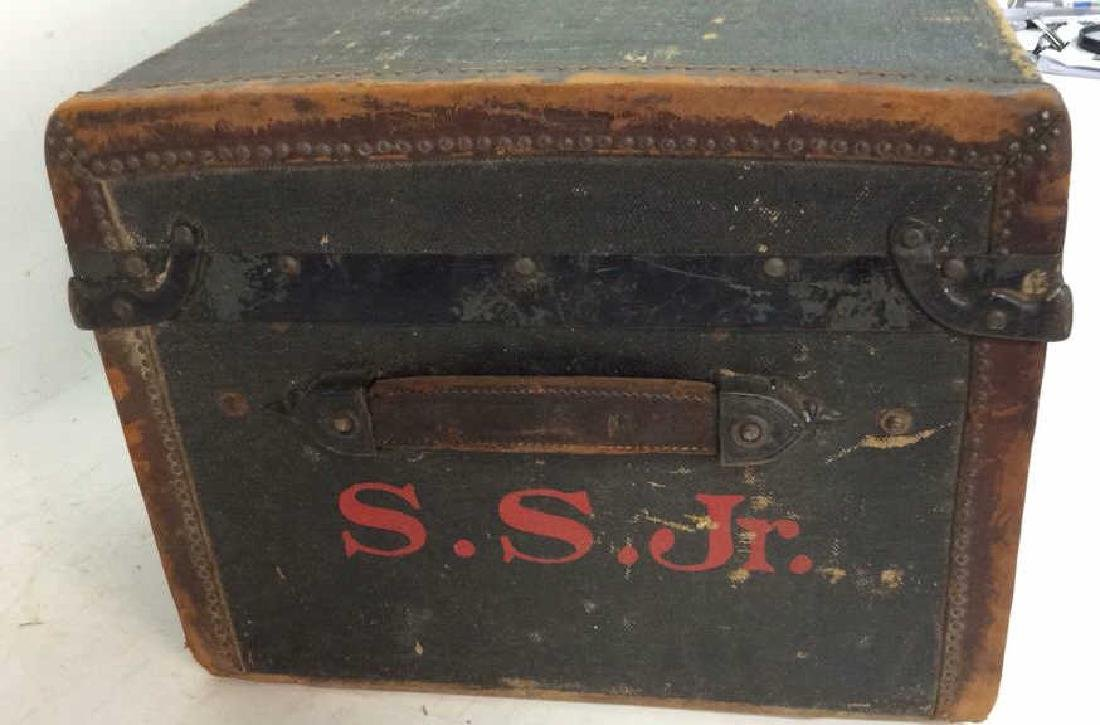 Antique Canvas Leather Auto Trunk from 1920's Auto - 3