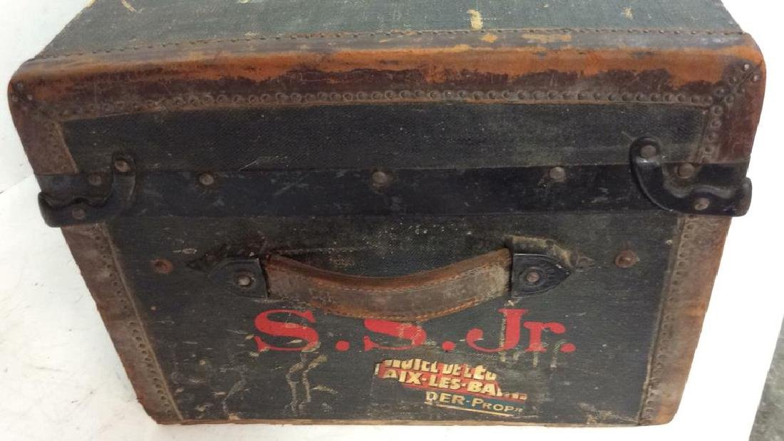 Antique Canvas Leather Auto Trunk from 1920's Auto - 5