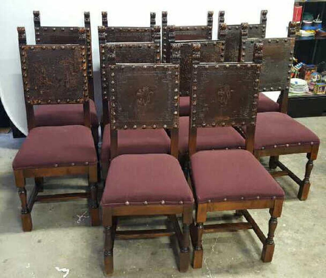 Antique Set of 10 Spanish Colonial Dining Chair Antique