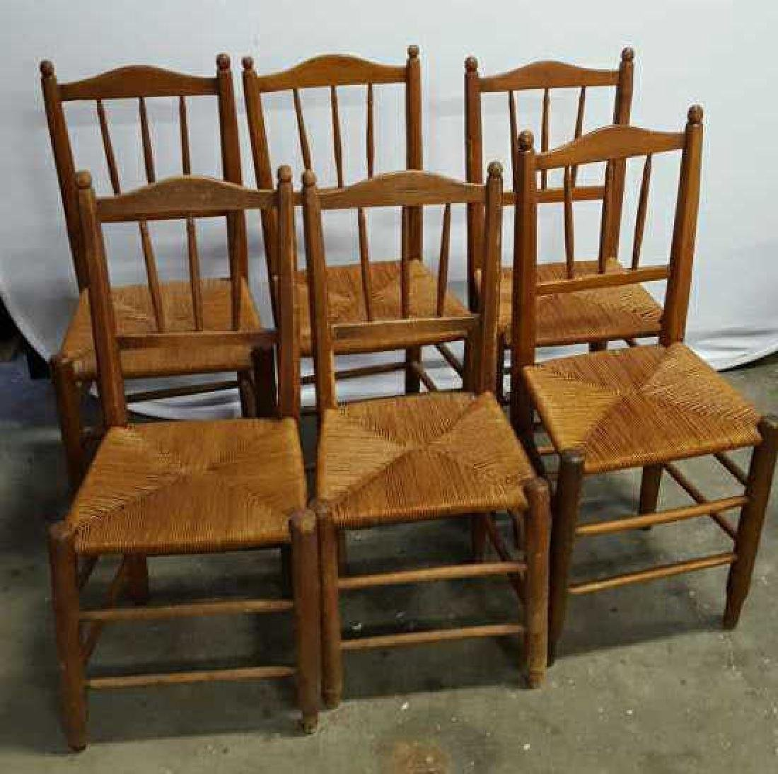 Set of Six Antique French Rush Dining Chairs Set of Six
