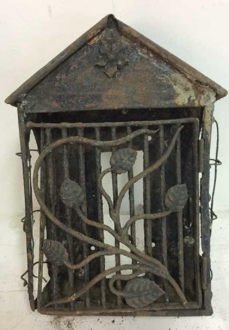 French Antiques Iron Metal Wire Mail Box Decorative