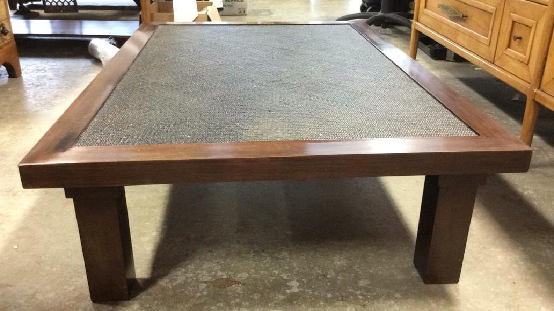 Transitional Style Wood and Textured Coffee Table - 2