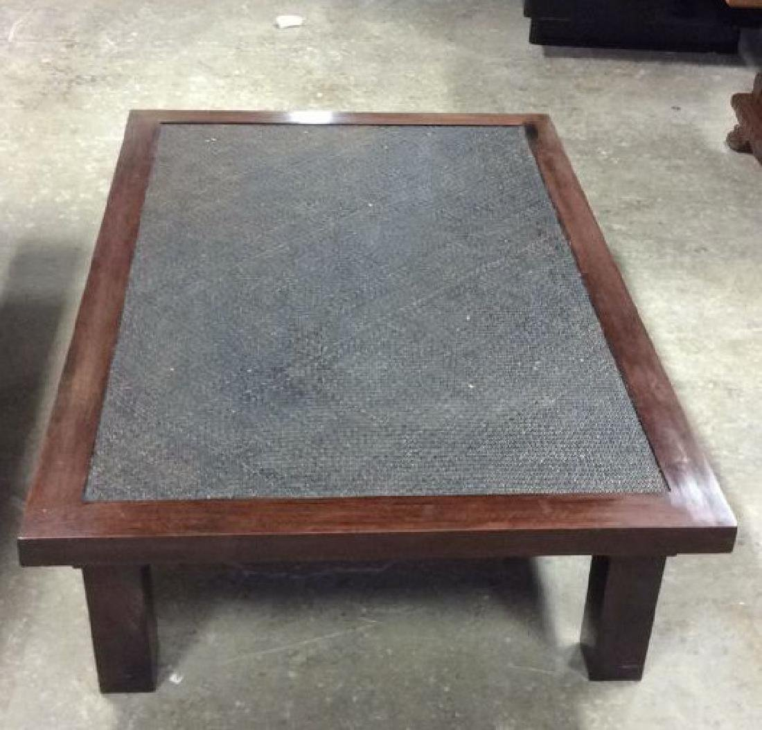 Transitional Style Wood and Textured Coffee Table - 7