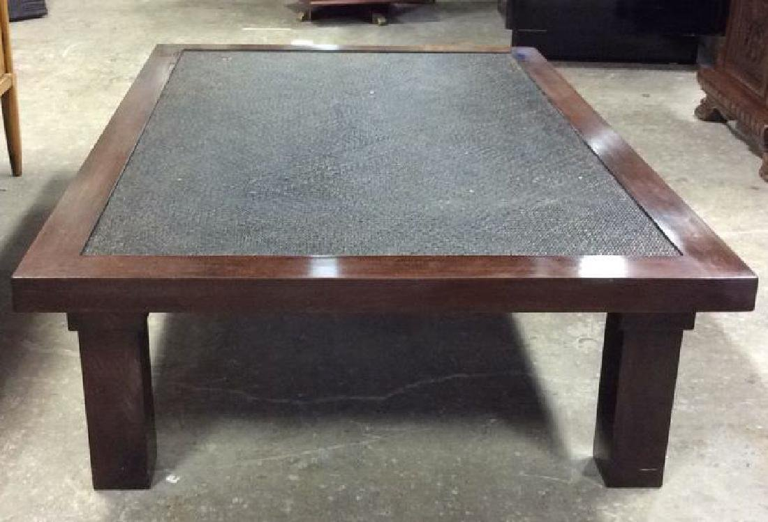 Transitional Style Wood and Textured Coffee Table - 8