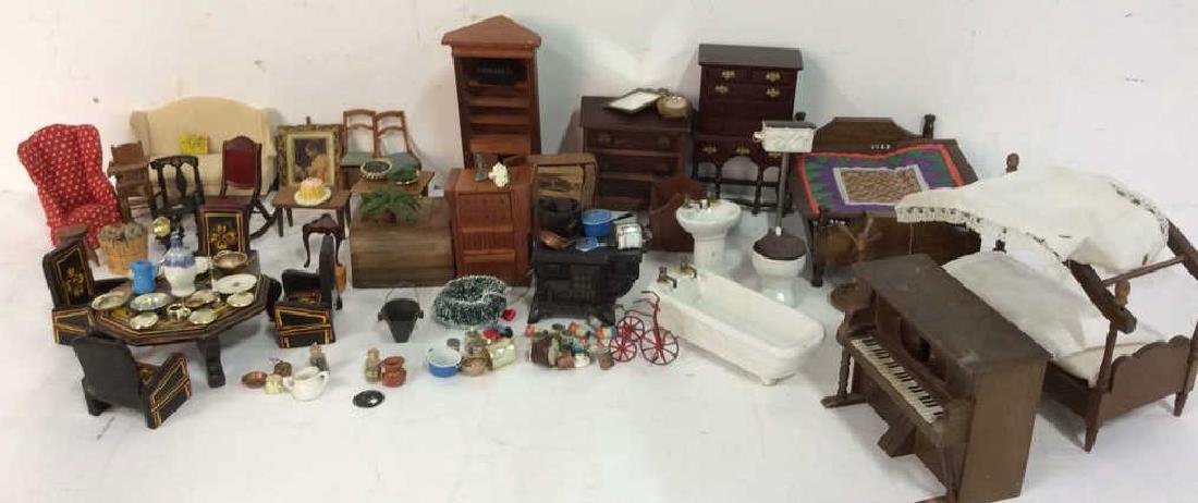 Group Lot Hand Made Doll House Furniture and