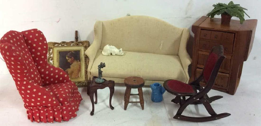 Group Lot Hand Made Doll House Furniture and - 3