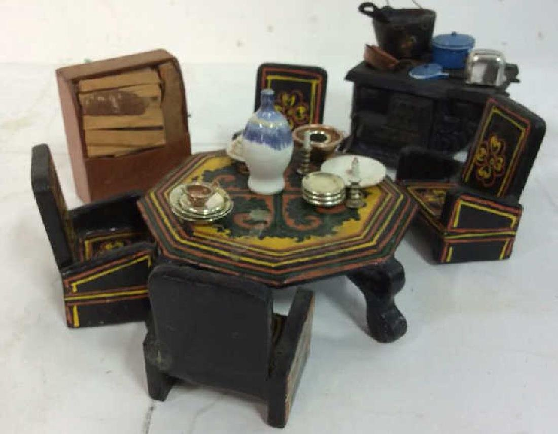 Group Lot Hand Made Doll House Furniture and - 4