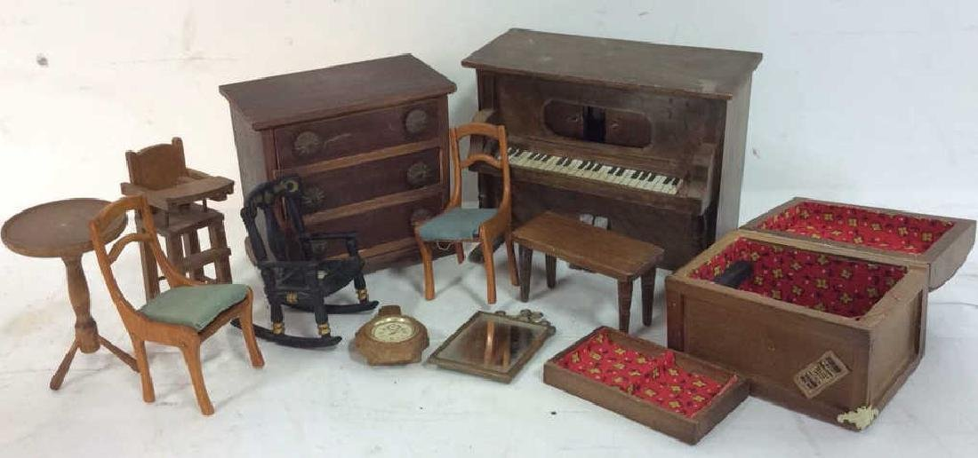 Group Lot Hand Made Doll House Furniture and - 7