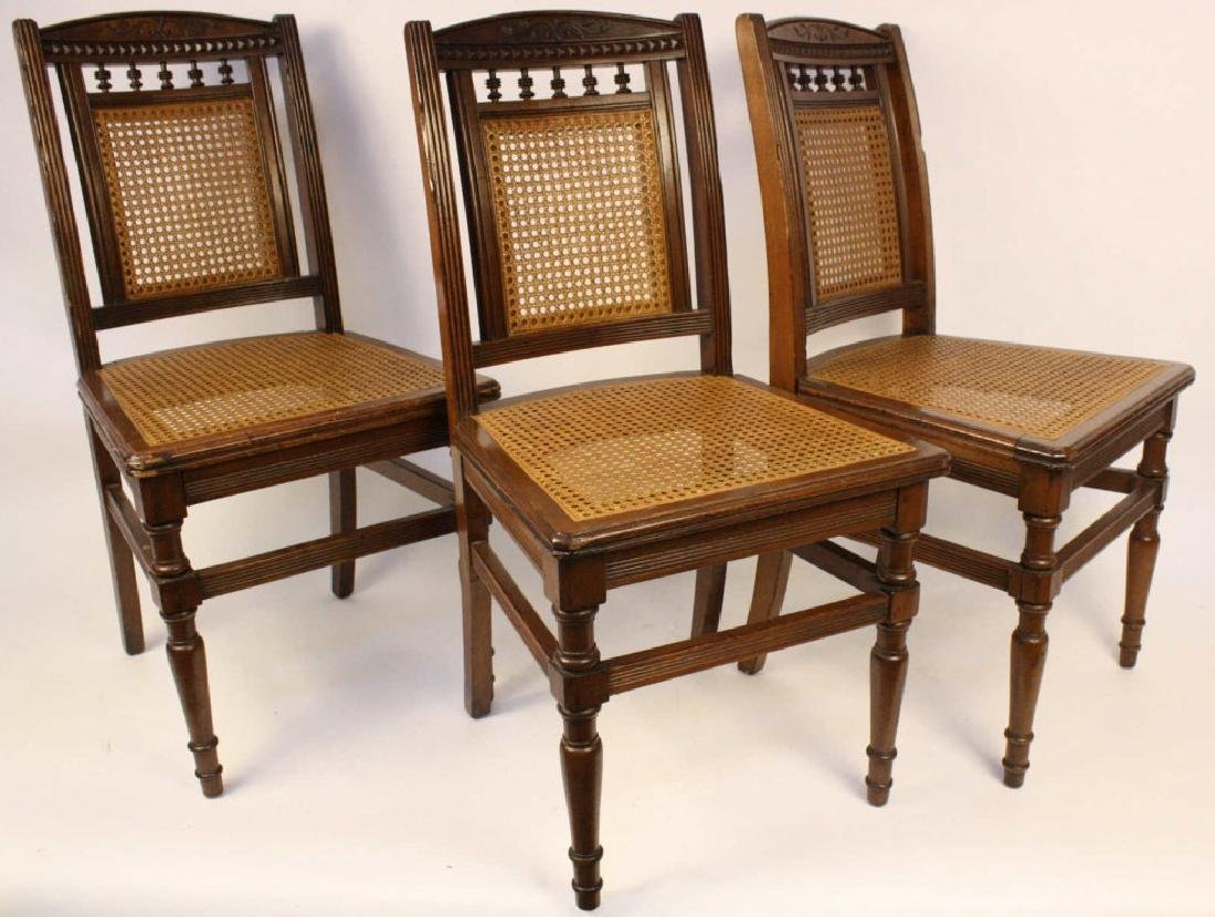 6 Cane Seat Mahogany side chairs with Fluted Legs