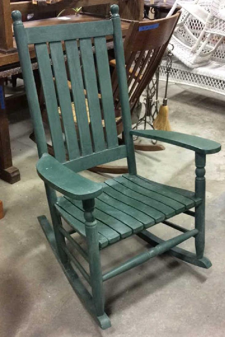 Painted Green Outdoor Rocking Chair