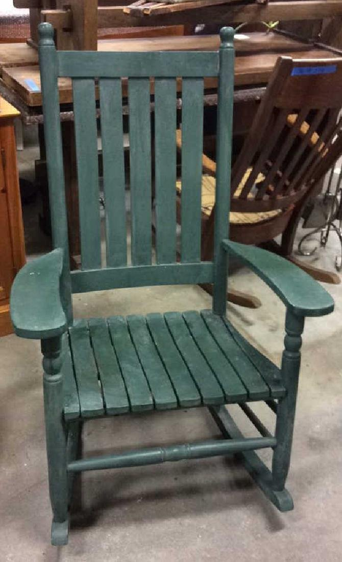Painted Green Outdoor Rocking Chair - 2