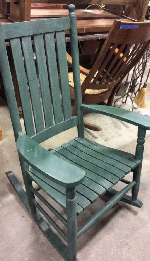 Painted Green Outdoor Rocking Chair - 5