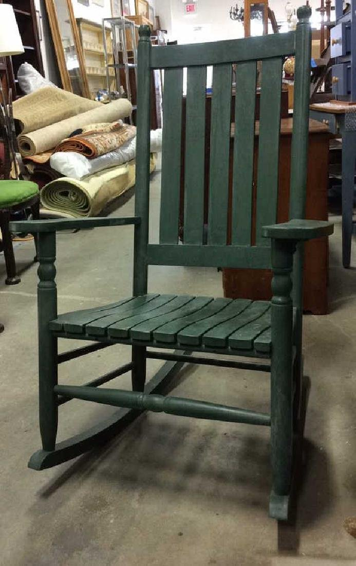 Painted Green Outdoor Rocking Chair - 7