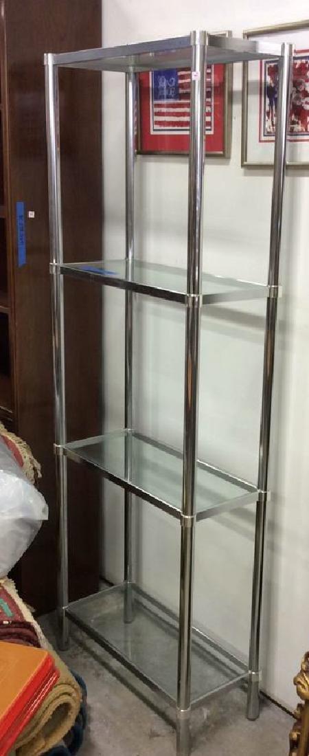 Pair Chrome Glass Etageres - 10