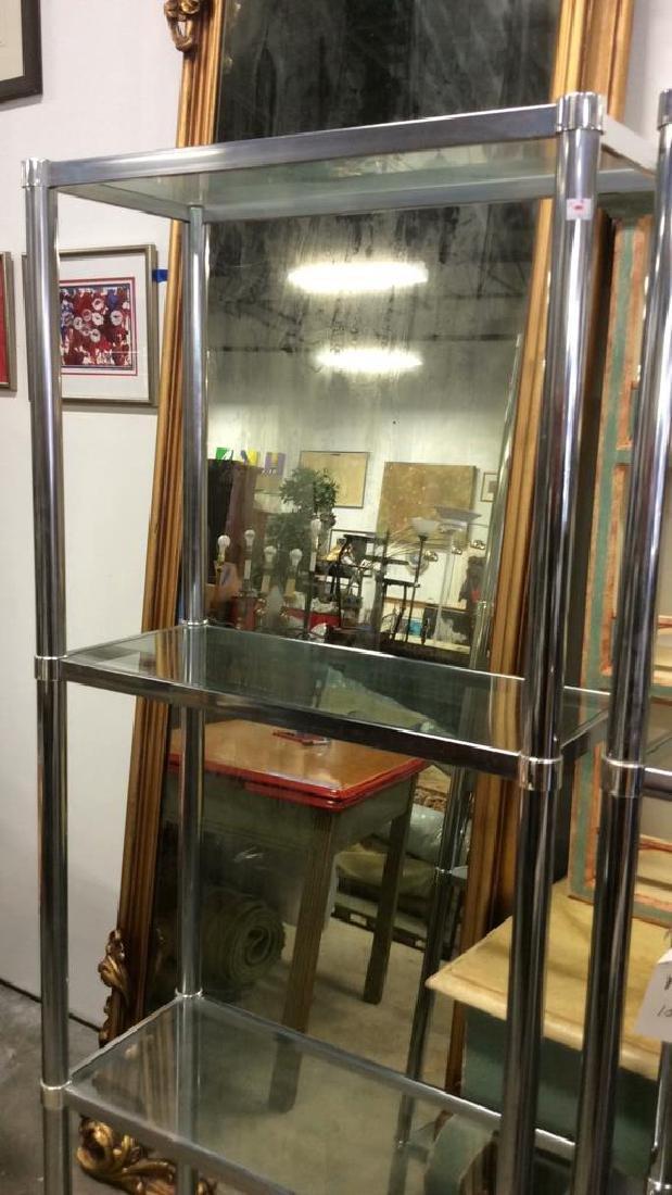 Pair Chrome Glass Etageres - 2