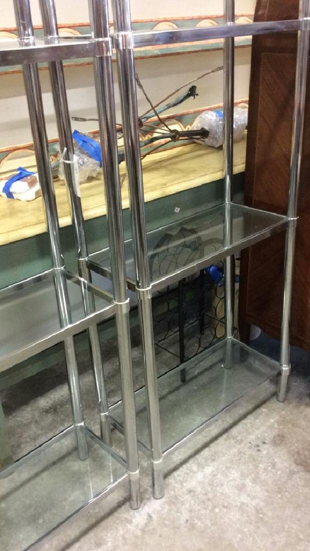 Pair Chrome Glass Etageres - 7