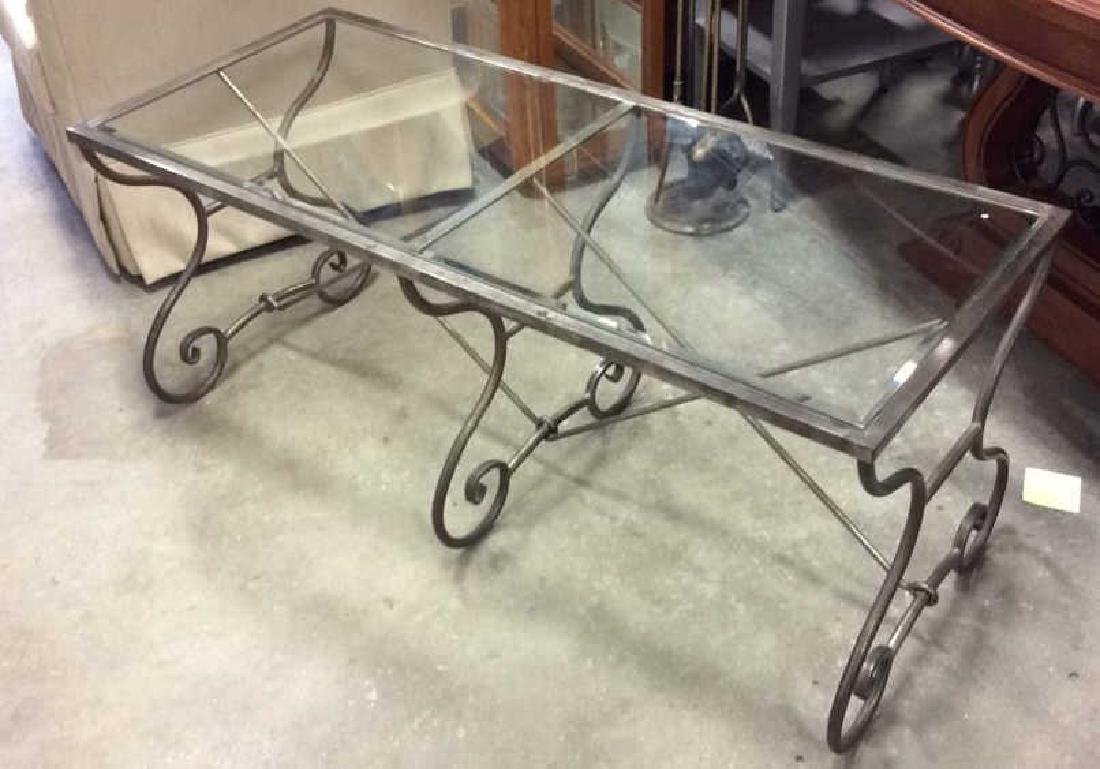 Silvered Iron Glass Coffee Table Low Table