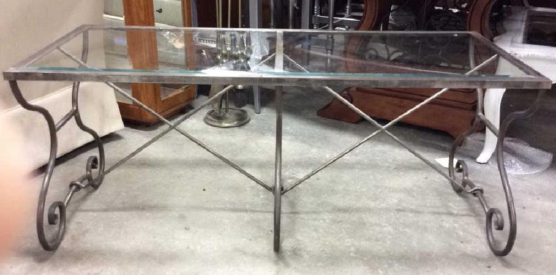 Silvered Iron Glass Coffee Table Low Table - 2