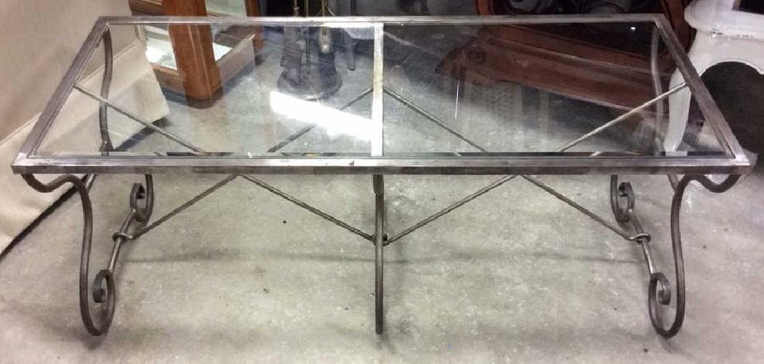 Silvered Iron Glass Coffee Table Low Table - 3