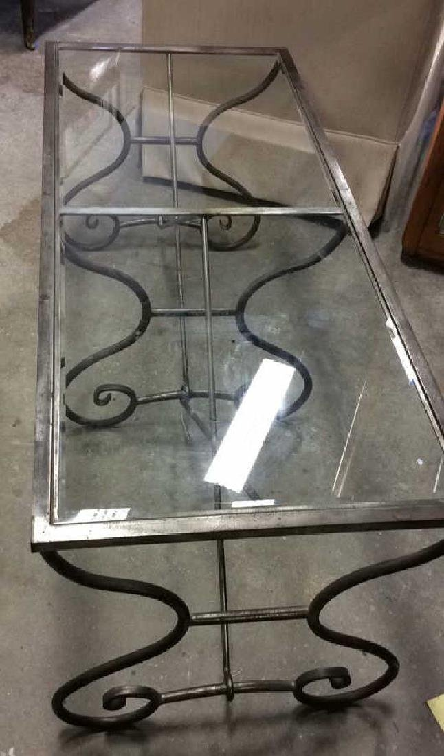 Silvered Iron Glass Coffee Table Low Table - 4