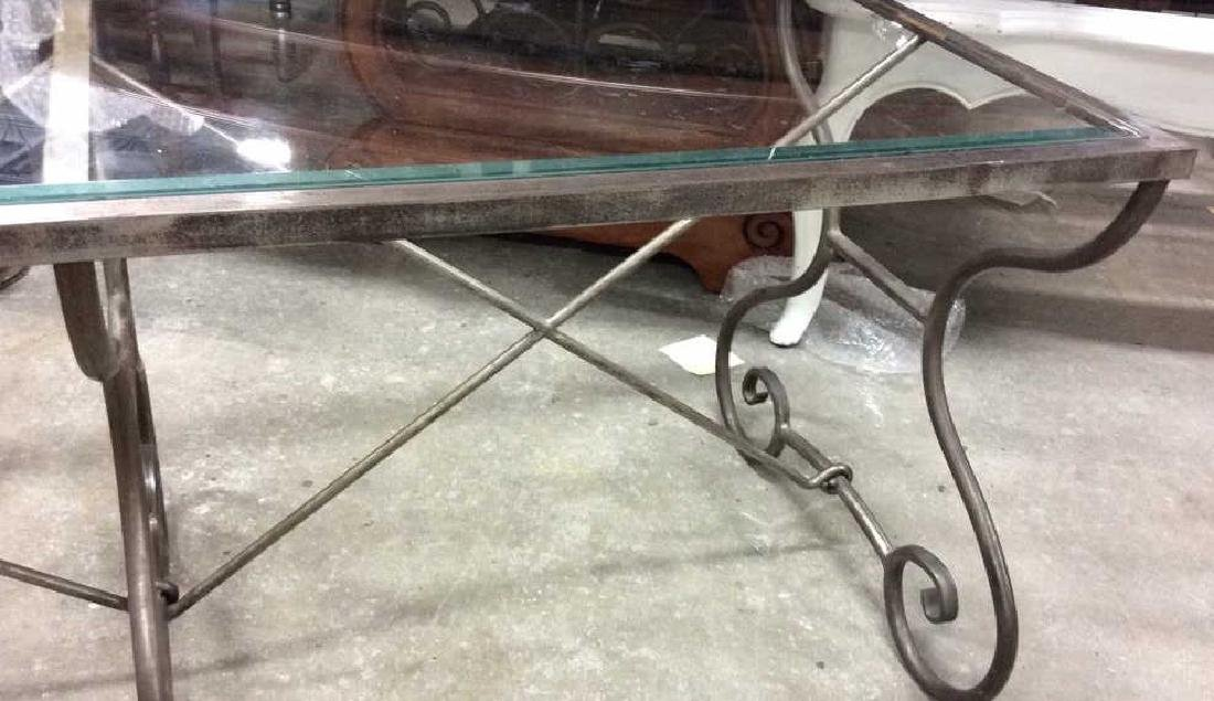 Silvered Iron Glass Coffee Table Low Table - 7