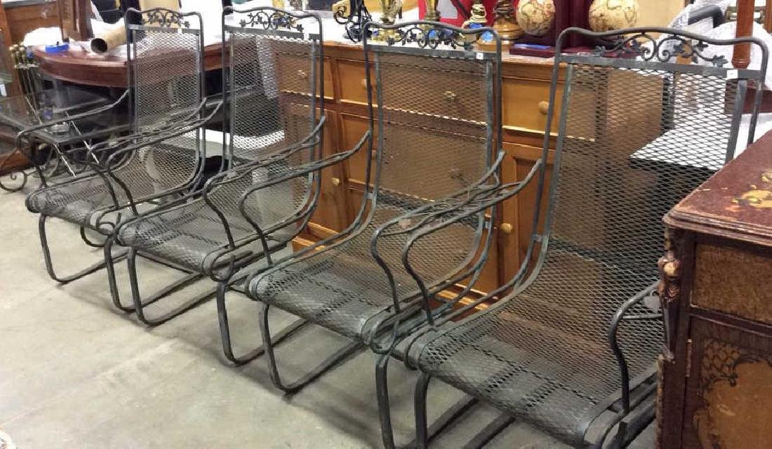 Antique Set 4 Iron Metal Outdoor Arm Chairs - 10